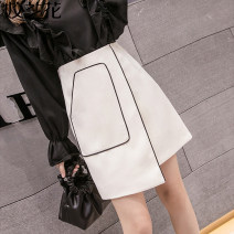 skirt Autumn of 2019 S M L XL 2XL Ginger white black Short skirt commute High waist A-line skirt Solid color Type A More than 95% other Jiaolan other Pocket asymmetric zipper Korean version Other 100% Pure e-commerce (online only)