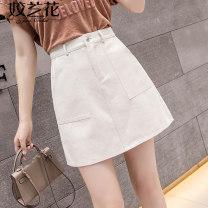 skirt Summer 2021 S M L XL 2XL White black blue apricot Short skirt commute High waist A-line skirt Solid color Type A Denim Jiaolan Pocket button zipper Korean version Pure e-commerce (online only)