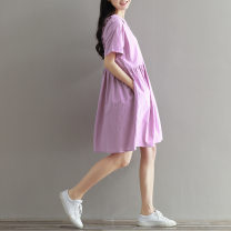 Dress Other / other violet S,M,L,XL,XXL Short sleeve Solid color