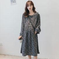 Dress Other / other navy blue Average size Korean version Long sleeves Medium length spring Lapel Decor