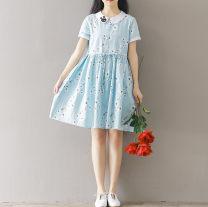 Dress Other / other Light blue, pink S,M,L,XL,XXL Short sleeve Decor