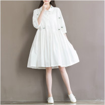 Dress Other / other white M,XXL,L,XL Original design three quarter sleeve Medium length spring other Solid color Cotton and hemp