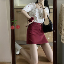 Fashion suit Spring 2021 Average size Cherry top, skirt s, Skirt M, skirt L, Skirt XL 31% (inclusive) - 50% (inclusive) polyester fiber