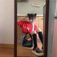 Fashion suit Summer 2021 Average size Red T-shirt, s plaid skirt, m plaid skirt, l plaid skirt #33332 96% and above cotton