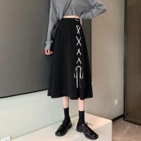 skirt Spring 2021 S,M,L black Mid length dress Versatile High waist A-line skirt Solid color Type A