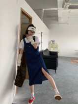 Dress Spring 2021 blue S,M,L,XL Miniskirt singleton  Sleeveless commute Socket straps 18-24 years old Type H Korean version Denim