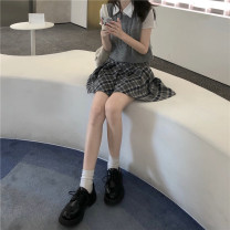Fashion suit Summer 2021 Average size White Polo, grey vest, black vest, s grey skirt, s plaid skirt, m grey skirt, l grey skirt, m plaid skirt, l plaid skirt Short skirt S84 vest 559 bottom p112 31% (inclusive) - 50% (inclusive) cotton