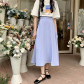 skirt Spring 2021 S, M Bean powder, light blue purple, sand apricot longuette commute High waist A-line skirt Solid color Type A 18-24 years old 30% and below other Korean version