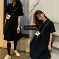 Dress Summer 2020 Blue, black Average size Middle-skirt singleton  Short sleeve commute Loose waist Solid color double-breasted Big swing routine Others 18-24 years old Type A Korean version 51% (inclusive) - 70% (inclusive) other cotton