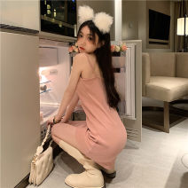Dress Summer 2021 Grey, purple, pink Average size Short skirt singleton  Sleeveless commute One word collar Solid color Socket A-line skirt routine camisole 18-24 years old Type A backless 91% (inclusive) - 95% (inclusive) cotton