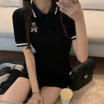 Dress Summer 2021 White, black, pink Average size Short skirt singleton  Short sleeve Polo collar Solid color Socket routine