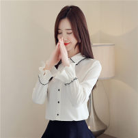 shirt Blue white S M L XL 2XL Autumn of 2019 polyester fiber 96% and above Long sleeves commute Regular Polo collar Single row multi button bishop sleeve Solid color 35-39 years old Self cultivation Han daisa Simplicity Button Polyester 100% Pure e-commerce (online only)