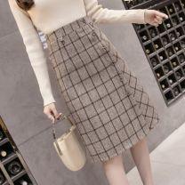 skirt Spring 2021 S,M,L,XL Khaki, black and white Mid length dress Versatile High waist A-line skirt lattice Type A 18-24 years old WW-01 Button