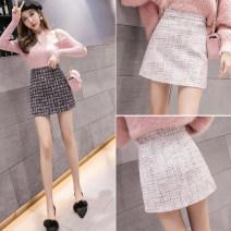skirt Spring 2021 S,M,L,XL,XXL Black, beige Short skirt commute High waist A-line skirt other Type A 25-29 years old other Korean version