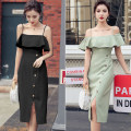Dress Summer 2021 Yellow, green, black S,M,L,XL Mid length dress singleton  Sleeveless commute One word collar High waist Solid color One pace skirt Lotus leaf sleeve camisole 25-29 years old Type H Korean version