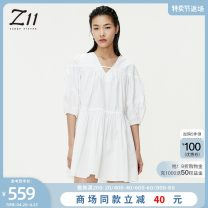 Dress Summer 2021 White peach blossom powder XS S M L XL Middle-skirt elbow sleeve Sweet V-neck Elastic waist Socket A-line skirt bishop sleeve 25-29 years old Type A Z11 Z21BH315 More than 95% cotton Cotton 100% college