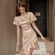Dress Summer 2020 Pink S,M,L Short skirt singleton  Short sleeve commute stand collar High waist Decor Socket Ruffle Skirt puff sleeve Others 18-24 years old Type A Retro