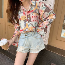 shirt Picture color M,L,XL,2XL Autumn 2020 other 91% (inclusive) - 95% (inclusive) Long sleeves commute Medium length Polo collar Single row multi button routine Hand painted Straight cylinder Other / other Retro