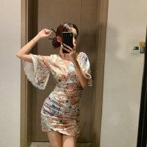 Dress Summer 2020 Picture color S, M Short skirt singleton  Short sleeve Sweet V-neck High waist Decor One pace skirt pagoda sleeve Type X Silk and satin solar system