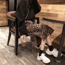 skirt Winter 2020 Average size Picture color Mid length dress commute High waist Leopard Print Other / other polyester fiber Korean version