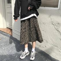 skirt Spring 2021 Average size Picture color Mid length dress Versatile Zebra pattern