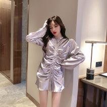 Dress Autumn of 2019 Black, champagne grey Average size Short skirt singleton  Long sleeves commute stand collar Solid color Single breasted One pace skirt bishop sleeve T-type Other / other Retro Silk and satin