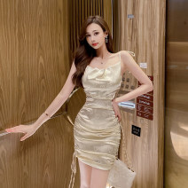 Dress Summer 2021 Light goose yellow S,M,L Short skirt singleton  Sleeveless commute One word collar High waist Solid color zipper One pace skirt camisole 18-24 years old Type X backless 91% (inclusive) - 95% (inclusive) Silk and satin Cellulose acetate