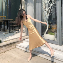 Dress Summer 2021 Champagne, black, peach S,M,L Mid length dress singleton  Sleeveless V-neck Solid color camisole Silk and satin Cellulose acetate