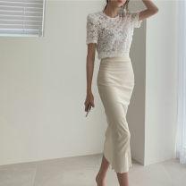 skirt Summer 2020 S, M Apricot Mid length dress commute High waist skirt Solid color Type O Korean version