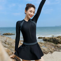 one piece  INSFREDDY M,L,XL,XXL,3XL black Skirt one piece With chest pad without steel support qa6659 female Long sleeves Casual swimsuit Solid color