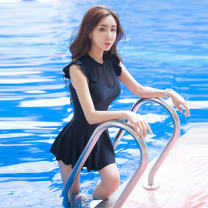one piece  INSFREDDY M,L,XL,XXL,XXXL black Skirt one piece With chest pad without steel support female Sleeveless Casual swimsuit Lotus leaf edge