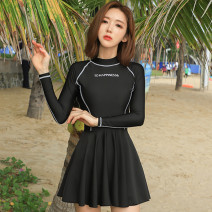 one piece  INSFREDDY M,L,XL black Skirt one piece With chest pad without steel support Nylon, spandex, others female Long sleeves Casual swimsuit Solid color