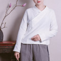 shirt White, black S,M,L,XL Spring 2020 cotton 51% (inclusive) - 70% (inclusive) Long sleeves Original design Regular stand collar Single row multi button routine 25-29 years old Self cultivation Cotton and hemp