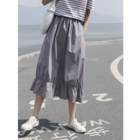 skirt Summer 2021 S,M,L Black, wisteria Mid length dress commute High waist Solid color More than 95% Glutinous rice you don't bloom cotton Simplicity