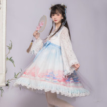 Dress Spring 2020 Yuqionglou OP, yuqionglou side clip OP + headdress S,M,L Middle-skirt Fake two pieces Long sleeves Sweet High waist zipper Lotus leaf sleeve Type A Bowknot, ruffle, tridimensional decoration, lace Lolita