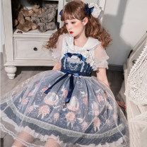 Dress Summer 2021 Blue suspender skirt, rabbit ear shirt 79 yuan (knock customer service) S,M,L Middle-skirt Two piece set Sweet zipper camisole Type A Bow, ruffle, stitching, lace Lolita