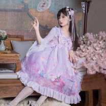 Dress Spring 2020 Chang'e to the moon OP, qiongyulou OP, qiongyulou headdress 29 yuan (contact customer service to change the price) S,M,L Middle-skirt Fake two pieces Long sleeves Sweet zipper Others Type A Lace, three-dimensional decoration, stitching, bow, lace, tassel Lolita