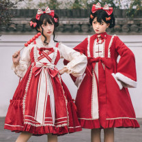 Dress Winter 2020 S,M,L Middle-skirt Three piece set Long sleeves Sweet Type A Lace, lace, bow, ruffle Lolita