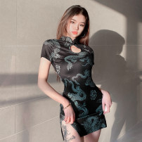 Dress Spring 2021 green S,M,L Short skirt singleton  Short sleeve street stand collar High waist Animal pattern Socket One pace skirt routine Others 18-24 years old Type H Hollow out, resin fixation, coil buckle DLD0656W0C 91% (inclusive) - 95% (inclusive) other polyester fiber Europe and America