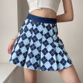 skirt Summer 2021 S,M,L blue Short skirt street High waist A-line skirt lattice Type A 18-24 years old DLMBD11513 91% (inclusive) - 95% (inclusive) other polyester fiber Resin fixation, color contrast Europe and America