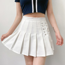 skirt Summer 2020 S,M,L Black, white Short skirt Retro High waist A-line skirt Solid color Type A 18-24 years old 81% (inclusive) - 90% (inclusive) other polyester fiber Lace up, resin fixation