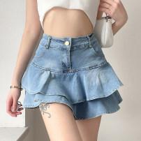 skirt Summer 2021 S,M,L blue Short skirt street High waist A-line skirt Solid color Type A 18-24 years old 91% (inclusive) - 95% (inclusive) Denim polyester fiber Europe and America