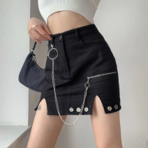 skirt Winter 2020 S,M,L black Short skirt street High waist skirt Solid color Type H 18-24 years old DLD4144V01 31% (inclusive) - 50% (inclusive) other cotton Hollow, chain, resin fixation, corns Europe and America