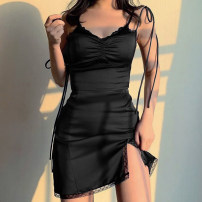 Dress Spring 2021 black S,M,L Short skirt singleton  Sleeveless street V-neck High waist Solid color Socket One pace skirt routine camisole 18-24 years old Type H Resin fixation DLD9721W12 91% (inclusive) - 95% (inclusive) Lace polyester fiber Europe and America