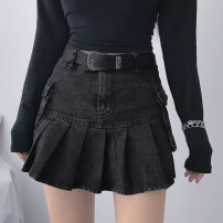 skirt Winter 2020 S,M,L Black, black [with lining] Short skirt street High waist Pleated skirt Solid color Type A 18-24 years old DLMKD00024 91% (inclusive) - 95% (inclusive) other polyester fiber Pocket, resin fixation Europe and America