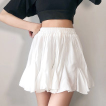 skirt Summer 2021 M white Short skirt street High waist A-line skirt Solid color Type A 18-24 years old DLVBD11326 71% (inclusive) - 80% (inclusive) other polyester fiber Lotus leaf edge Europe and America