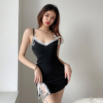 Dress Spring 2021 black S,M,L Short skirt singleton  Sleeveless street V-neck High waist Solid color Socket One pace skirt routine camisole 18-24 years old Type H Open back, lace YXJD0425V0C 31% (inclusive) - 50% (inclusive) Lace cotton Europe and America
