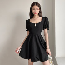 Dress Summer 2021 black S,M,L Short skirt singleton  Short sleeve street square neck High waist Solid color Socket A-line skirt puff sleeve Others 18-24 years old Type A Button, resin fixation 51% (inclusive) - 70% (inclusive) other cotton Europe and America