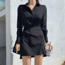 Dress Autumn 2020 Black, white S,M,L Short skirt singleton  Long sleeves street Polo collar High waist Solid color Irregular skirt shirt sleeve Others 18-24 years old Type H Button, resin fixation DLD4683W0G 81% (inclusive) - 90% (inclusive) other polyester fiber Europe and America