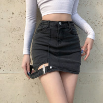 skirt Summer 2021 S,M,L grey Short skirt street High waist skirt Solid color Type H 18-24 years old DLVAD12160 91% (inclusive) - 95% (inclusive) other cotton Resin fixation, hollow out, solid color Europe and America